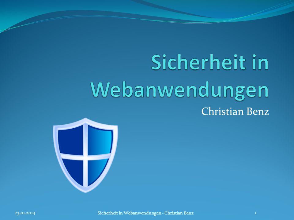 Arten von Sicherheitsrisiken Quellen Quellen: [1] http://www.geekyplanet.com/2010/03/31/phishing/http://www.geekyplanet.com/2010/03/31/phishing/ [2] http://www.absolit-blog.de/studien/220-milliarden-e-mails- pro-tag.htmlhttp://www.absolit-blog.de/studien/220-milliarden-e-mails- pro-tag.html [3]http://de.academic.ru/dic.nsf/dewiki/1105247 http://www.customvinyldecalsnstickers.com/cute_skull.gifhttp://de.academic.ru/dic.nsf/dewiki/1105247 http://www.customvinyldecalsnstickers.com/cute_skull.gif [4] http://www.sueddeutsche.de/politik/proteste-in-tunesien- von-der-strasse-ins-netz-1.1046518http://www.sueddeutsche.de/politik/proteste-in-tunesien- von-der-strasse-ins-netz-1.1046518 [5] http://de.wikipedia.org/wiki/Phishinghttp://de.wikipedia.org/wiki/Phishing [6],[7],[8] http://www.h-online.com/security/features/Web- application-security-747201.htmlhttp://www.h-online.com/security/features/Web- application-security-747201.html [7] http://www.cix-blog.de/thm/Undichte-SQL-Injection-auf- Kaspersky-Websitehttp://www.cix-blog.de/thm/Undichte-SQL-Injection-auf- Kaspersky-Website SQL Injection-Bild http://www.mygeekpal.com/208/sanitizing-variables-in-php- without-regular-expressions/ http://network-tutorial.com/wp-content/uploads/2010/01/sql- injection.jpg http://www.mygeekpal.com/208/sanitizing-variables-in-php- without-regular-expressions/ http://network-tutorial.com/wp-content/uploads/2010/01/sql- injection.jpg [7] http://www.msc-computer.com/Computer_1.jpghttp://www.msc-computer.com/Computer_1.jpg 23.01.2014 Sicherheit in Webanwendungen - Christian Benz 32