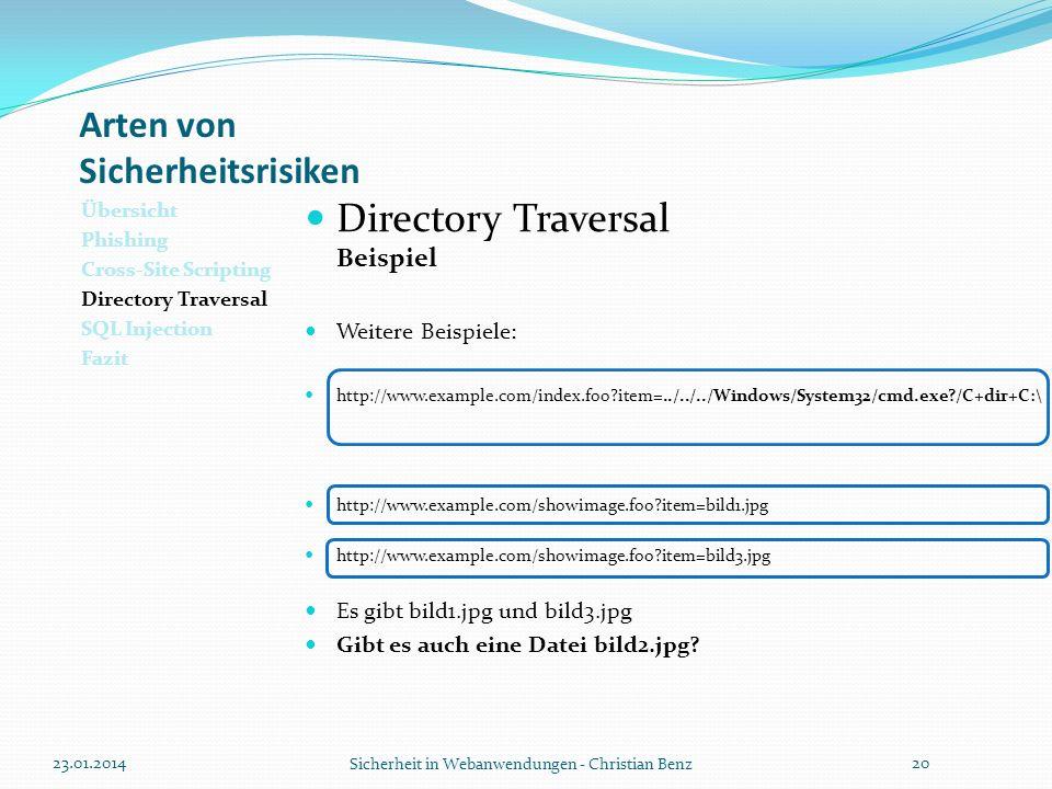 Arten von Sicherheitsrisiken Übersicht Phishing Cross-Site Scripting Directory Traversal SQL Injection Fazit Directory Traversal Beispiel Weitere Beis