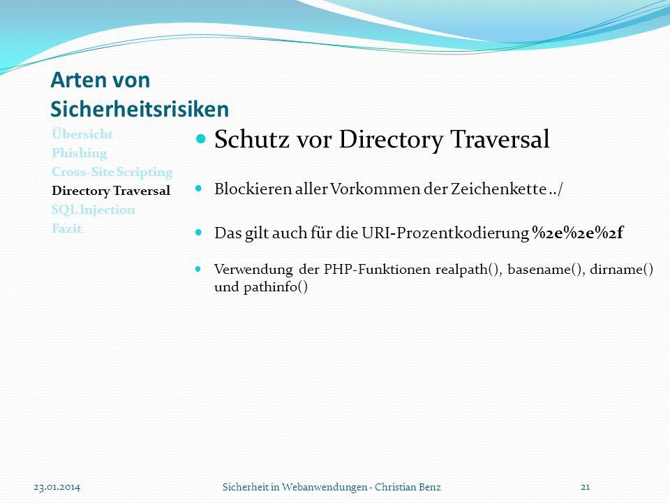 Arten von Sicherheitsrisiken Übersicht Phishing Cross-Site Scripting Directory Traversal SQL Injection Fazit Schutz vor Directory Traversal Blockieren