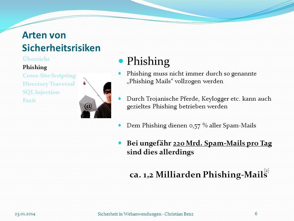 Arten von Sicherheitsrisiken Übersicht Phishing Cross-Site Scripting Directory Traversal SQL Injection Fazit Phishing 23.01.2014 Sicherheit in Webanwendungen - Christian Benz 7 [3]