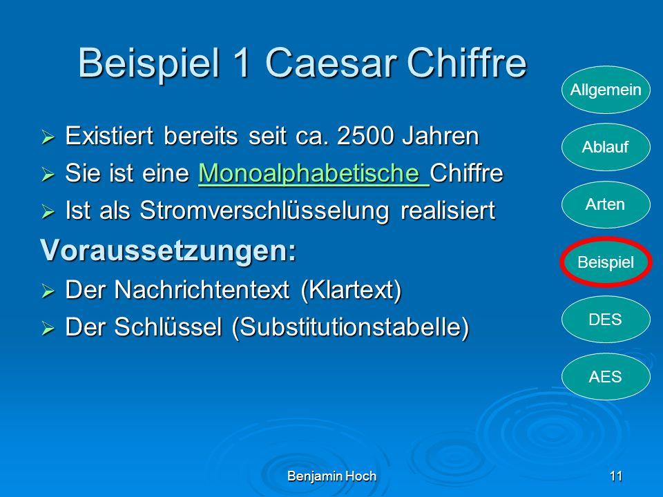 Allgemein Ablauf Arten Beispiel DES AES Benjamin Hoch11 Beispiel 1 Caesar Chiffre Existiert bereits seit ca. 2500 Jahren Existiert bereits seit ca. 25