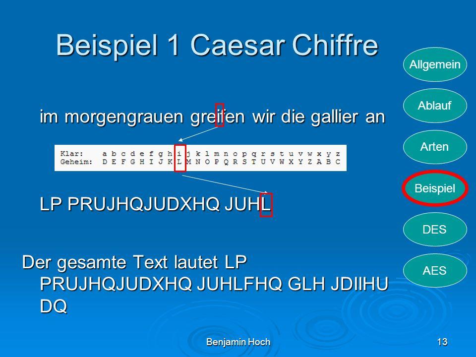 Allgemein Ablauf Arten Beispiel DES AES Benjamin Hoch13 Beispiel 1 Caesar Chiffre im morgengrauen greifen wir die gallier an LP PRUJHQJUDXHQ JUHL Der
