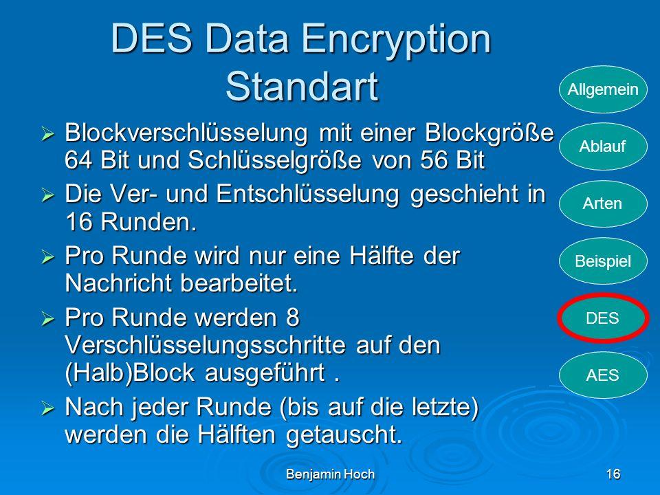Allgemein Ablauf Arten Beispiel DES AES Benjamin Hoch16 DES Data Encryption Standart Blockverschlüsselung mit einer Blockgröße 64 Bit und Schlüsselgrö