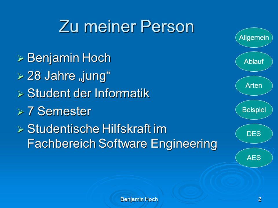 Allgemein Ablauf Arten Beispiel DES AES Benjamin Hoch2 Zu meiner Person Benjamin Hoch Benjamin Hoch 28 Jahre jung 28 Jahre jung Student der Informatik
