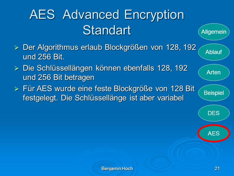 Allgemein Ablauf Arten Beispiel DES AES Benjamin Hoch21 AES Advanced Encryption Standart Der Algorithmus erlaub Blockgrößen von 128, 192 und 256 Bit.