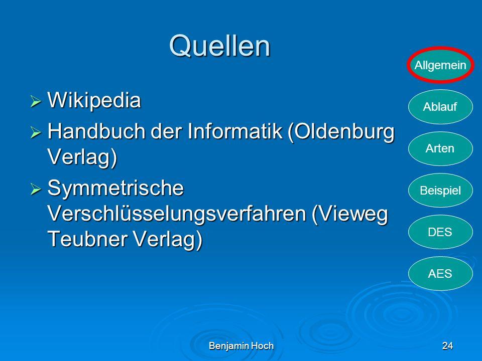 Allgemein Ablauf Arten Beispiel DES AES Benjamin Hoch24 Quellen Wikipedia Wikipedia Handbuch der Informatik (Oldenburg Verlag) Handbuch der Informatik