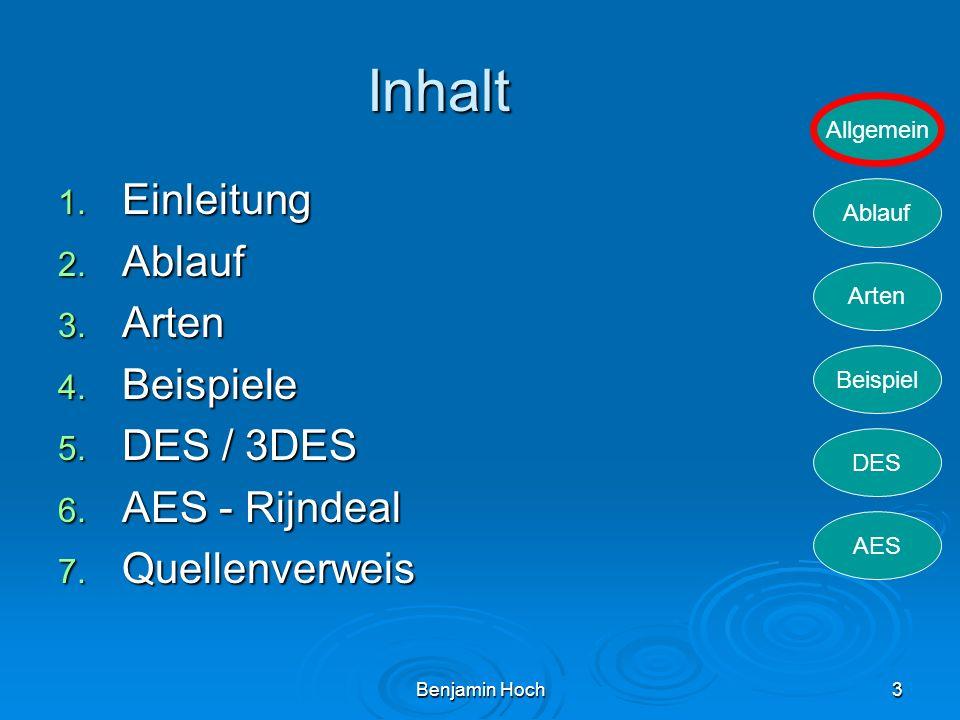 Allgemein Ablauf Arten Beispiel DES AES Benjamin Hoch3 Inhalt 1. Einleitung 2. Ablauf 3. Arten 4. Beispiele 5. DES / 3DES 6. AES - Rijndeal 7. Quellen