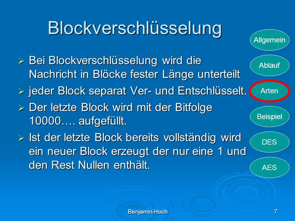 Allgemein Ablauf Arten Beispiel DES AES Benjamin Hoch7 Blockverschlüsselung Bei Blockverschlüsselung wird die Nachricht in Blöcke fester Länge unterte