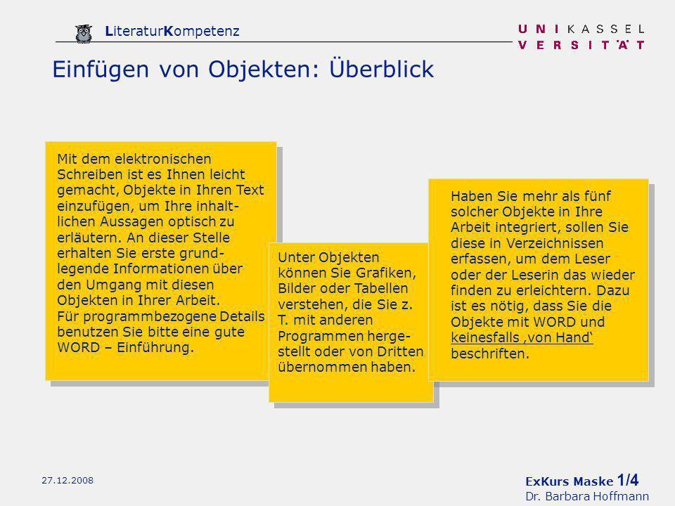 ExKurs Maske 2/4 Dr. Barbara Hoffmann LiteraturKompetenz 27.12.2008 Seite einrichten