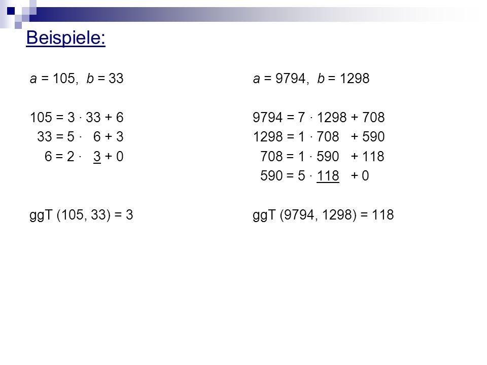 Beispiele: a = 105, b = 33 105 = 3 · 33 + 6 33 = 5 · 6 + 3 6 = 2 · 3 + 0 ggT (105, 33) = 3 a = 9794, b = 1298 9794 = 7 · 1298 + 708 1298 = 1 · 708 + 5