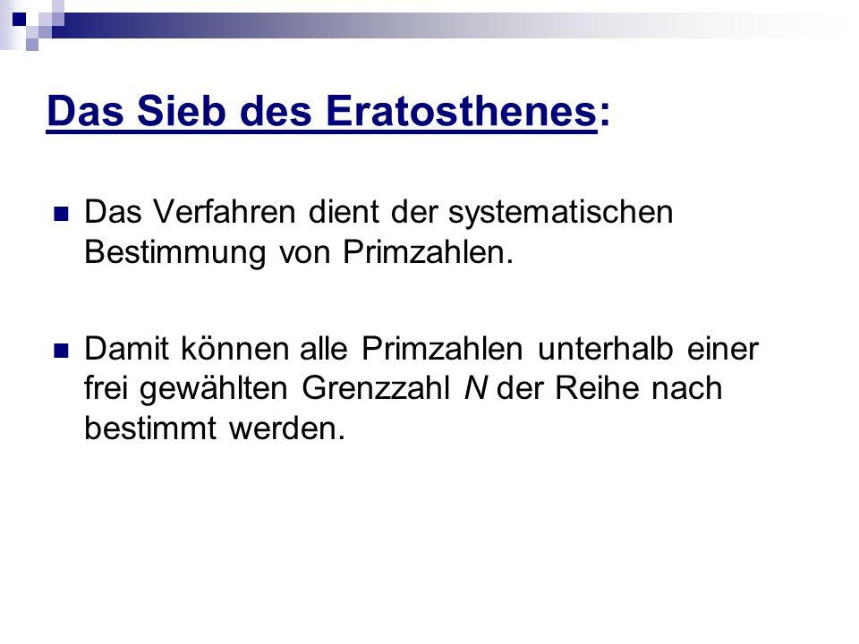 Das Sieb des Eratosthenes: Das Verfahren dient der systematischen Bestimmung von Primzahlen. Damit können alle Primzahlen unterhalb einer frei gewählt