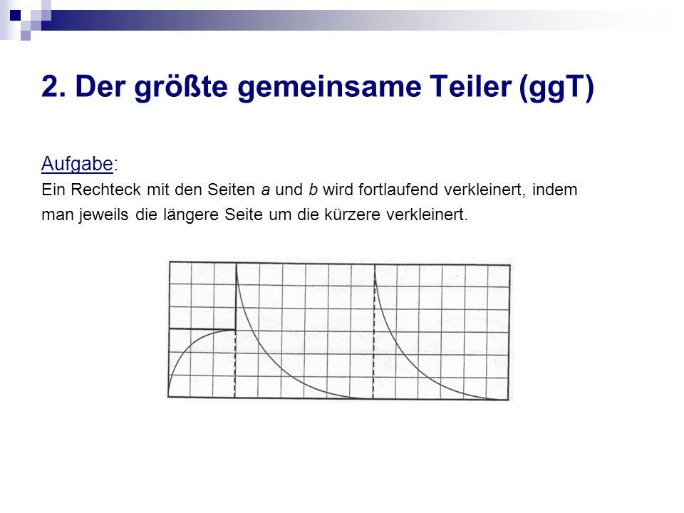 2. Der größte gemeinsame Teiler (ggT) Aufgabe: Ein Rechteck mit den Seiten a und b wird fortlaufend verkleinert, indem man jeweils die längere Seite u