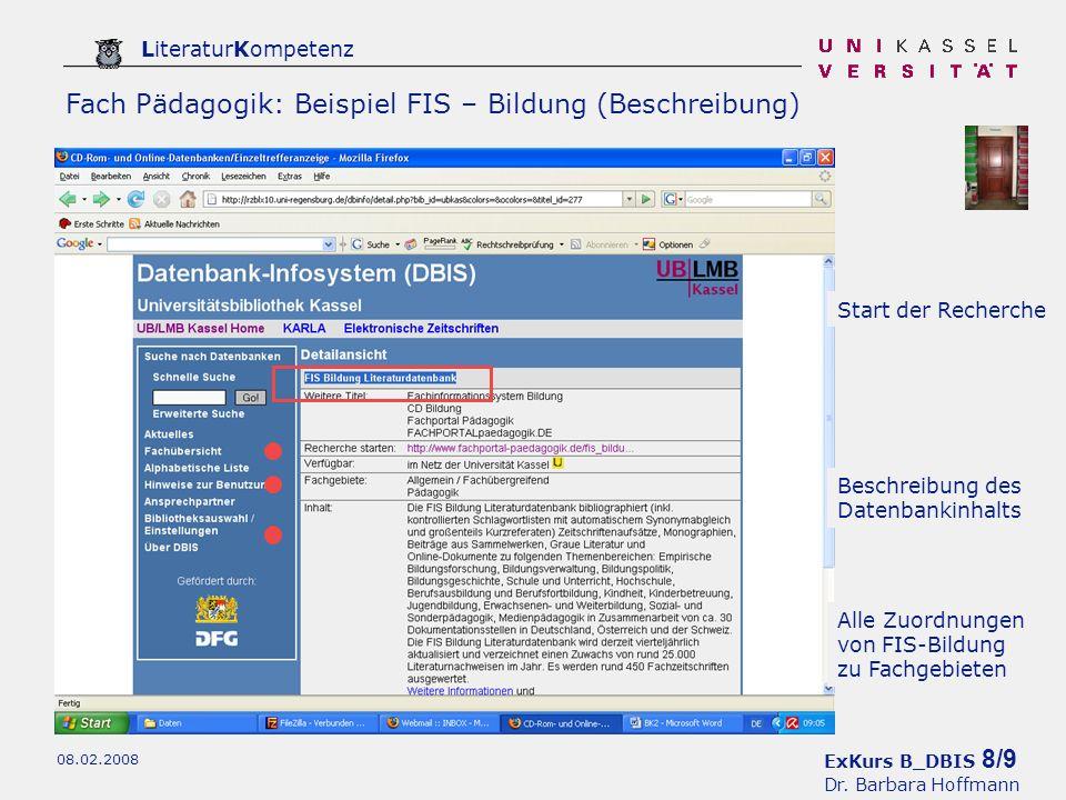 ExKurs B_DBIS 9/9 Dr. Barbara Hoffmann LiteraturKompetenz 08.02.2008 FIS – Bildung: Eingangsseite
