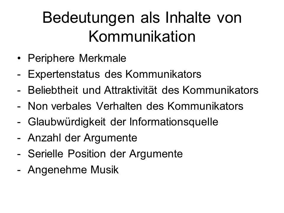Bedeutungen als Inhalte von Kommunikation Periphere Merkmale -Expertenstatus des Kommunikators -Beliebtheit und Attraktivität des Kommunikators -Non v