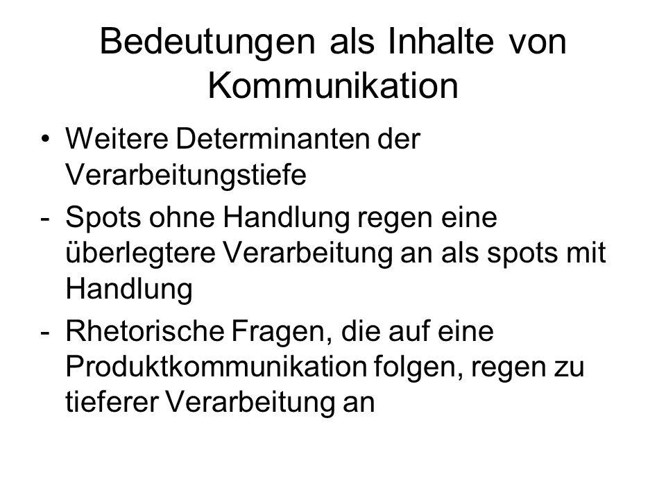 Bedeutungen als Inhalte von Kommunikation Weitere Determinanten der Verarbeitungstiefe -Spots ohne Handlung regen eine überlegtere Verarbeitung an als