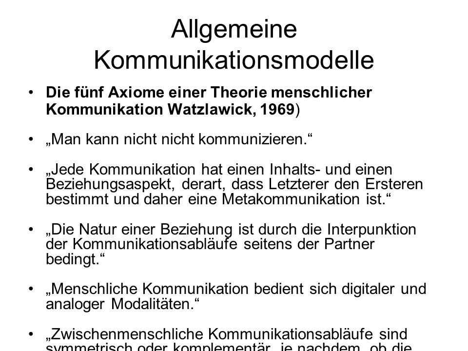 Allgemeine Kommunikationsmodelle Die fünf Axiome einer Theorie menschlicher Kommunikation Watzlawick, 1969) Man kann nicht nicht kommunizieren. Jede K