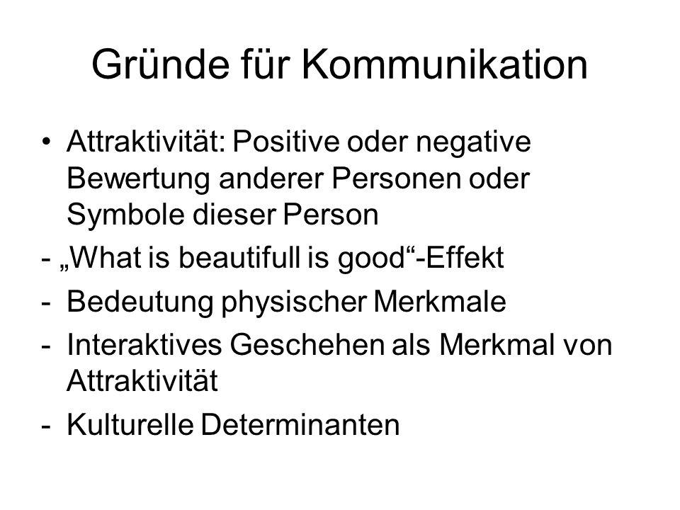 Gründe für Kommunikation Attraktivität: Positive oder negative Bewertung anderer Personen oder Symbole dieser Person - What is beautifull is good-Effe