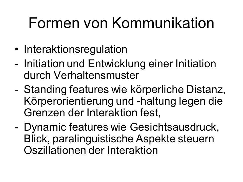 Formen von Kommunikation Interaktionsregulation -Initiation und Entwicklung einer Initiation durch Verhaltensmuster -Standing features wie körperliche