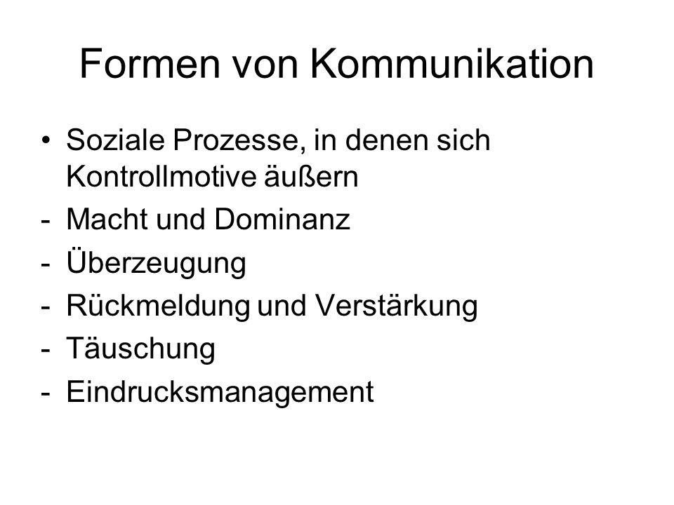 Formen von Kommunikation Soziale Prozesse, in denen sich Kontrollmotive äußern -Macht und Dominanz -Überzeugung -Rückmeldung und Verstärkung -Täuschun