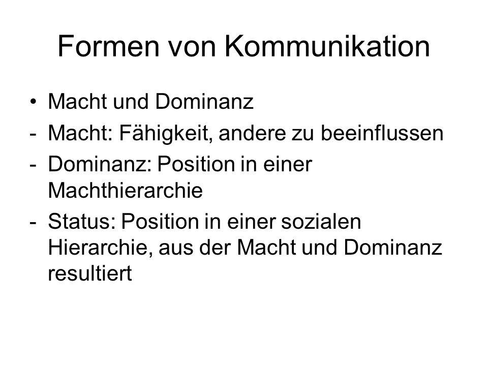 Formen von Kommunikation Macht und Dominanz -Macht: Fähigkeit, andere zu beeinflussen -Dominanz: Position in einer Machthierarchie -Status: Position i