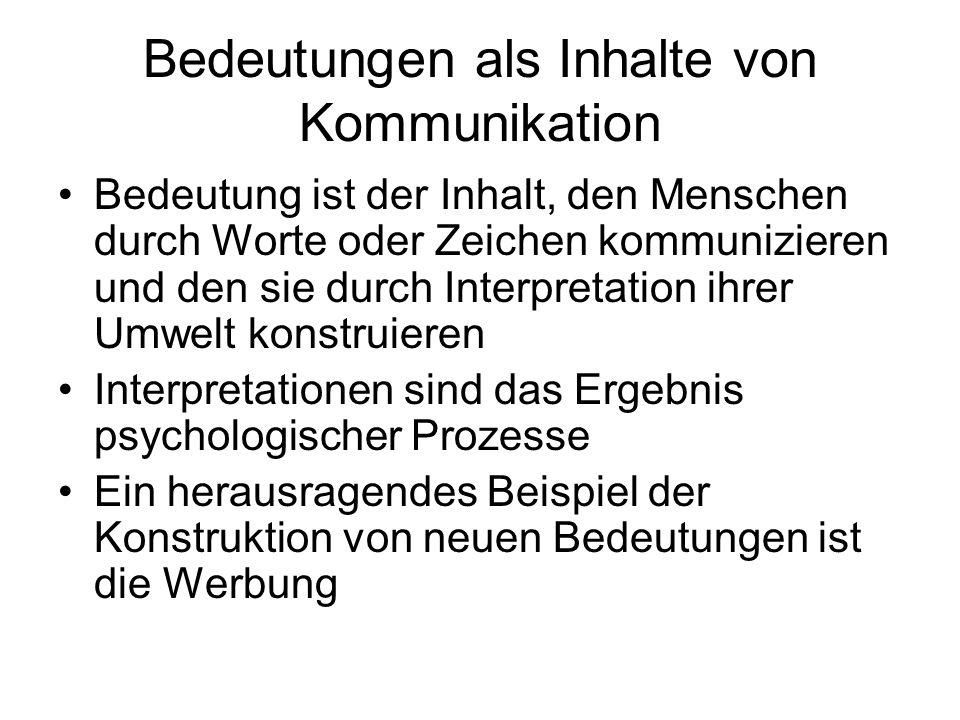Bedeutungen als Inhalte von Kommunikation Wahrnehmung -Physikalische Reize (z.B.