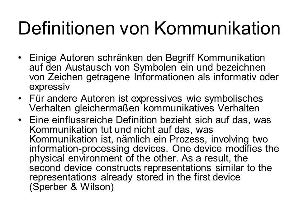 Definitionen von Kommunikation Einige Autoren schränken den Begriff Kommunikation auf den Austausch von Symbolen ein und bezeichnen von Zeichen getrag