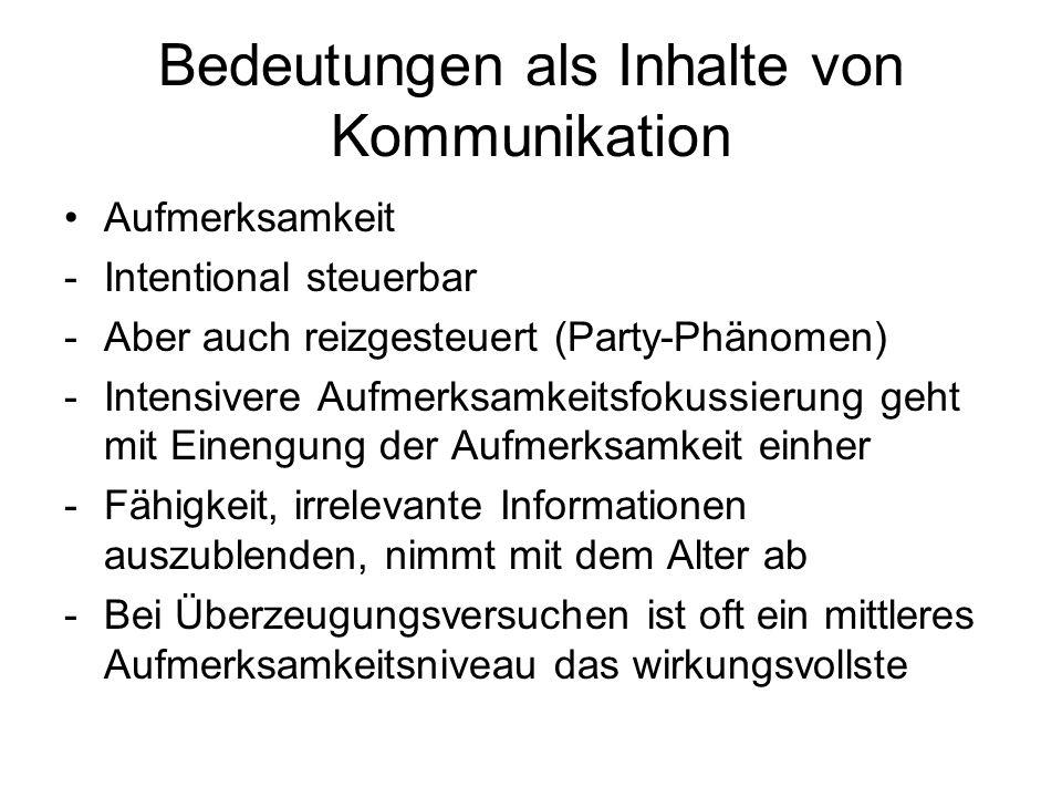 Bedeutungen als Inhalte von Kommunikation Aufmerksamkeit -Intentional steuerbar -Aber auch reizgesteuert (Party-Phänomen) -Intensivere Aufmerksamkeits