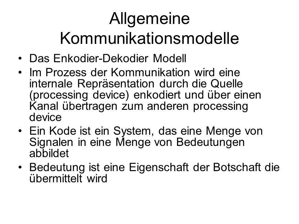Allgemeine Kommunikationsmodelle Das Enkodier-Dekodier Modell Im Prozess der Kommunikation wird eine internale Repräsentation durch die Quelle (proces