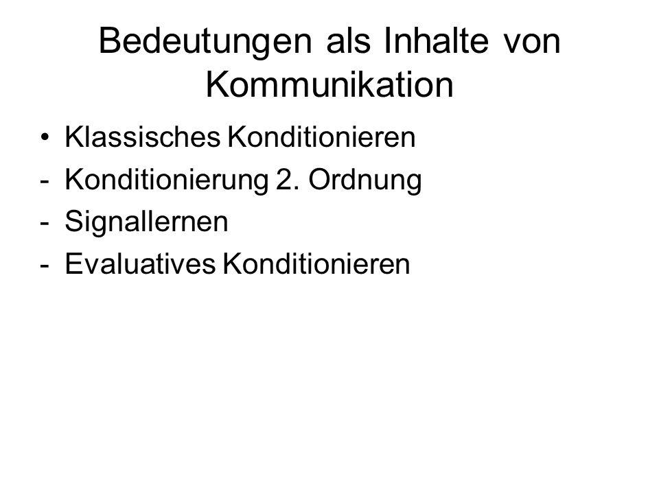 Bedeutungen als Inhalte von Kommunikation Klassisches Konditionieren -Konditionierung 2. Ordnung -Signallernen -Evaluatives Konditionieren