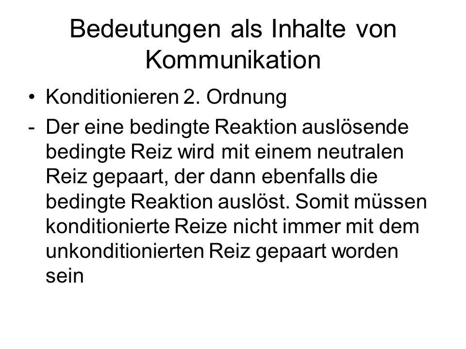 Bedeutungen als Inhalte von Kommunikation Klassisches Konditionieren -Signallernen: Beim Signallernen wird der neutrale Reiz zum Hinweis darauf, dass der unkonditionierte Reiz auftritt.