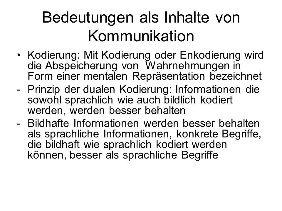 Bedeutungen als Inhalte von Kommunikation Kodierung: Mit Kodierung oder Enkodierung wird die Abspeicherung von Wahrnehmungen in Form einer mentalen Re