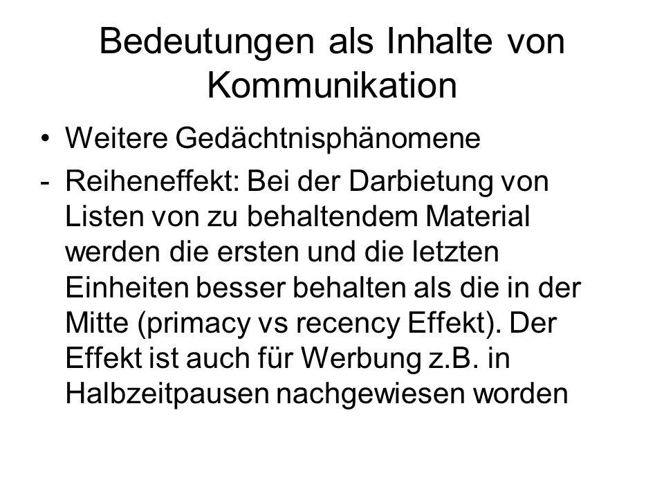 Bedeutungen als Inhalte von Kommunikation Weitere Gedächtnisphänomene -Reiheneffekt: Bei der Darbietung von Listen von zu behaltendem Material werden