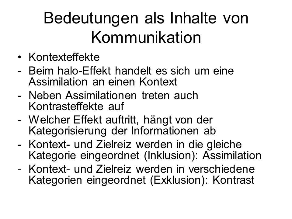 Bedeutungen als Inhalte von Kommunikation Automatische Prozesse bei der Bedeutungskonstruktion -Kognitive Prozesse lassen sich einteilen in solche, die automatisch und solche, die kontrolliert ablaufen -Merkmale automatischer Prozesse: unbewusst, nicht intentional, nicht kontrollierbar, anstrengungslos -Merkmale kontrollierter Prozesse: bewusst, intentional, kontrollierbar, mit Anstrengung verbunden