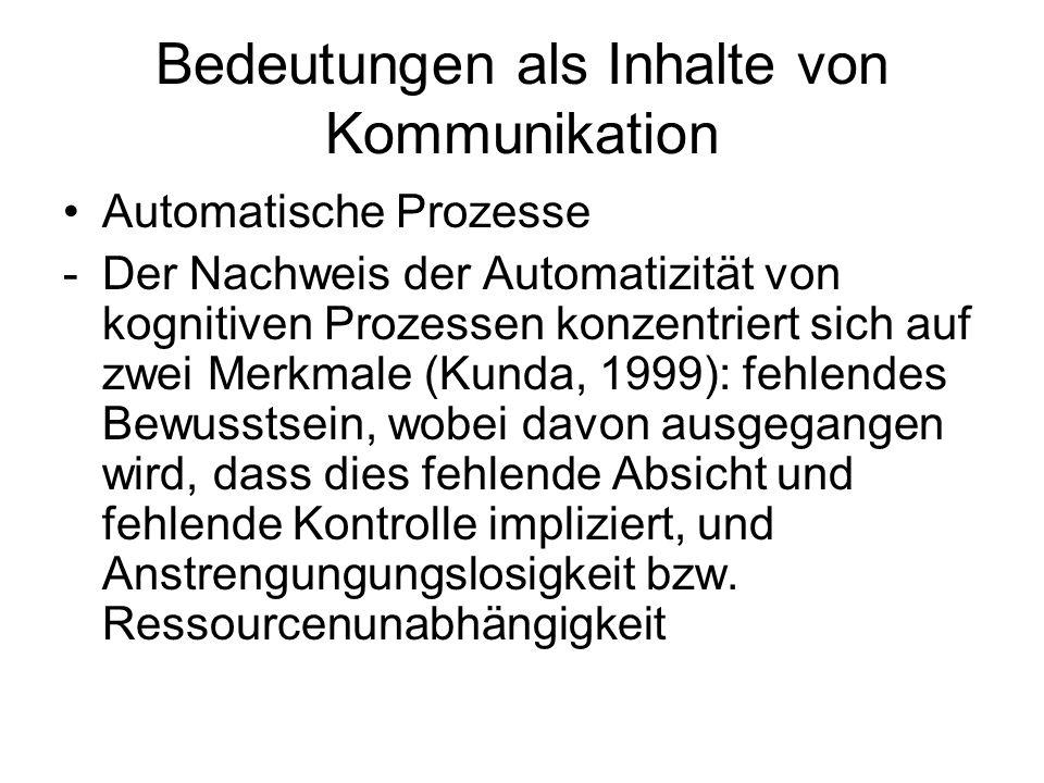 Bedeutungen als Inhalte von Kommunikation Automatische Prozesse -Der Nachweis der Automatizität von kognitiven Prozessen konzentriert sich auf zwei Me