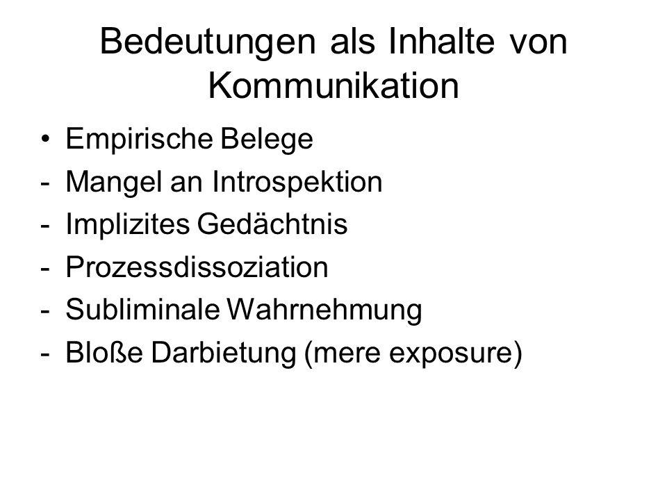 Bedeutungen als Inhalte von Kommunikation Empirische Belege -Mangel an Introspektion -Implizites Gedächtnis -Prozessdissoziation -Subliminale Wahrnehm