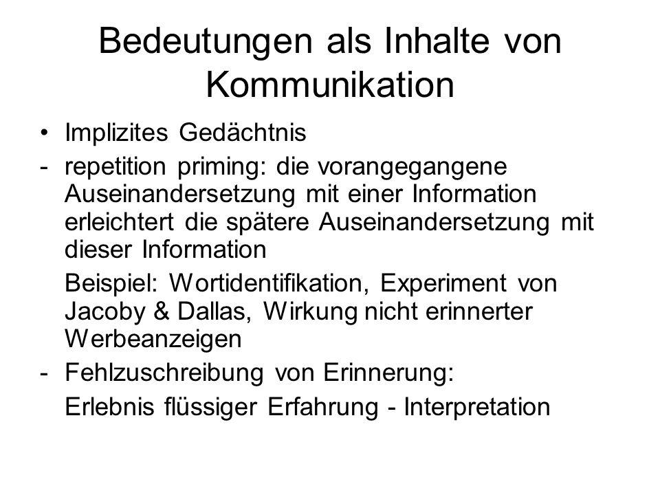 Bedeutungen als Inhalte von Kommunikation Implizites Gedächtnis -repetition priming: die vorangegangene Auseinandersetzung mit einer Information erlei