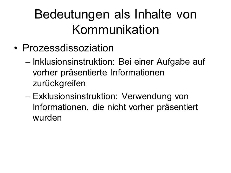 Bedeutungen als Inhalte von Kommunikation Prozessdissoziation –Inklusionsinstruktion: Bei einer Aufgabe auf vorher präsentierte Informationen zurückgr