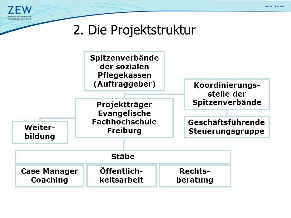 2. Die Projektstruktur Spitzenverbände der sozialen Pflegekassen (Auftraggeber) Projektträger Evangelische Fachhochschule Freiburg Koordinierungs- ste