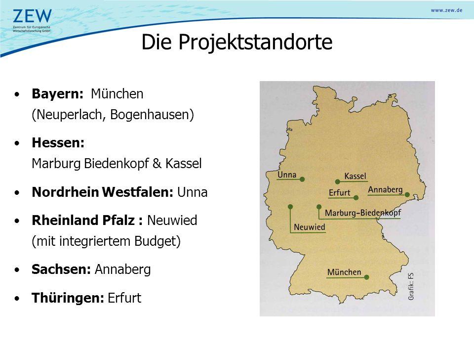 Die Projektstandorte Bayern: München (Neuperlach, Bogenhausen) Hessen: Marburg Biedenkopf & Kassel Nordrhein Westfalen: Unna Rheinland Pfalz : Neuwied (mit integriertem Budget) Sachsen: Annaberg Thüringen: Erfurt