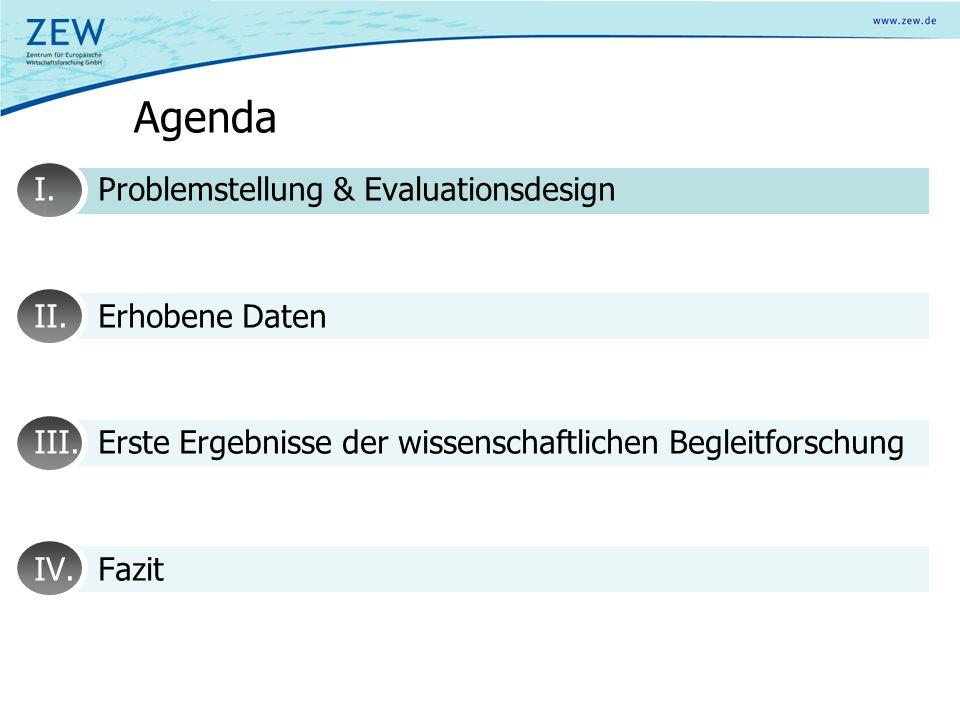 Agenda I.Vorstellung des Evaluationsdesigns 1.Problemstellung 2.Projektstrukur 3.Evaluationsdesign 4.Erfahrungen anderer Länder II.Erhobene Daten III.Erste Ergebnisse der wissenschaftlichen Begleitforschung IV.Fazit
