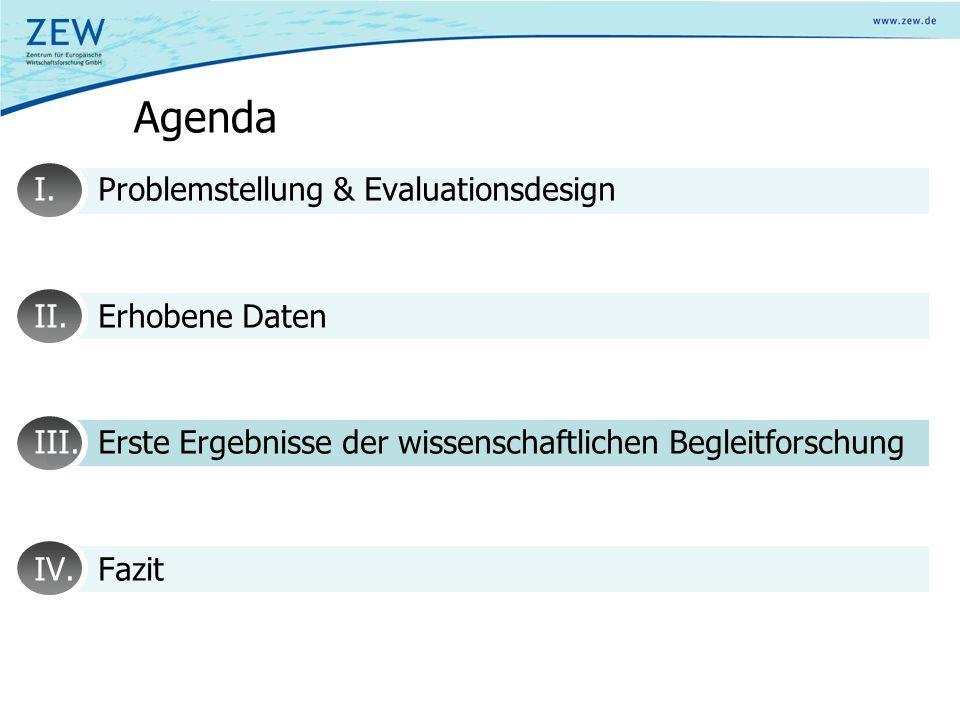 Agenda I.Problemstellung & Evaluationsdesign II.Erhobene Daten III.Erste Ergebnisse der wissenschaftlichen Begleitforschung IV.Fazit