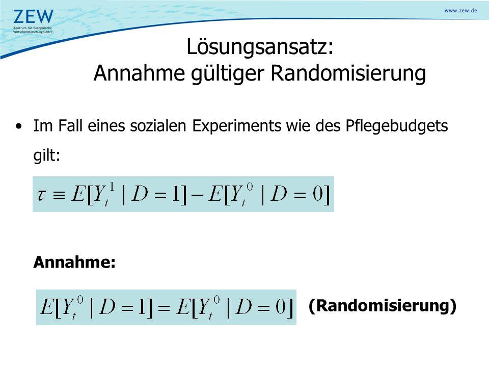 Lösungsansatz: Annahme gültiger Randomisierung Im Fall eines sozialen Experiments wie des Pflegebudgets gilt: Annahme: (Randomisierung)