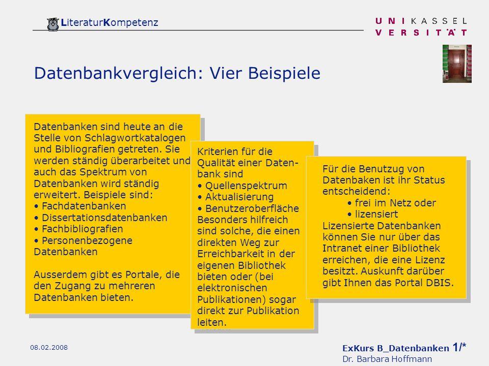 ExKurs B_Datenbanken 1/* Dr.