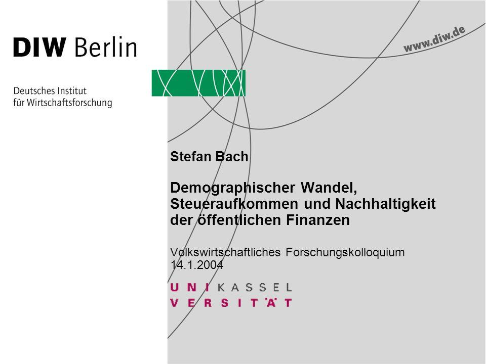 Stefan Bach Demographischer Wandel, Steueraufkommen und Nachhaltigkeit der öffentlichen Finanzen Volkswirtschaftliches Forschungskolloquium 14.1.2004