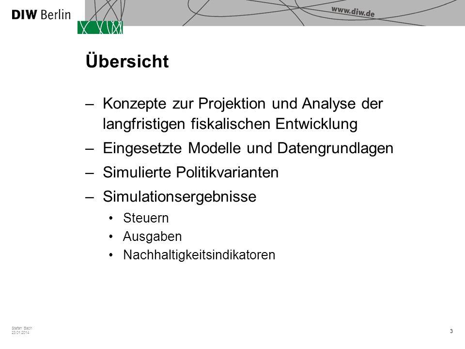 3 Stefan Bach 23.01.2014 Übersicht –Konzepte zur Projektion und Analyse der langfristigen fiskalischen Entwicklung –Eingesetzte Modelle und Datengrund