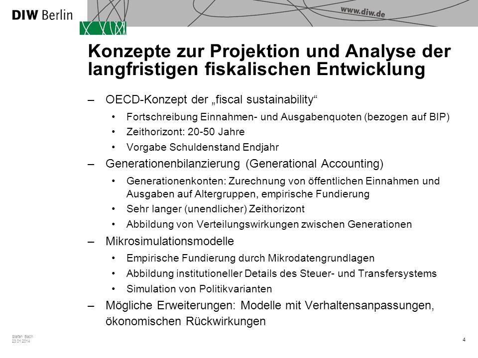 4 Stefan Bach 23.01.2014 Konzepte zur Projektion und Analyse der langfristigen fiskalischen Entwicklung –OECD-Konzept der fiscal sustainability Fortsc