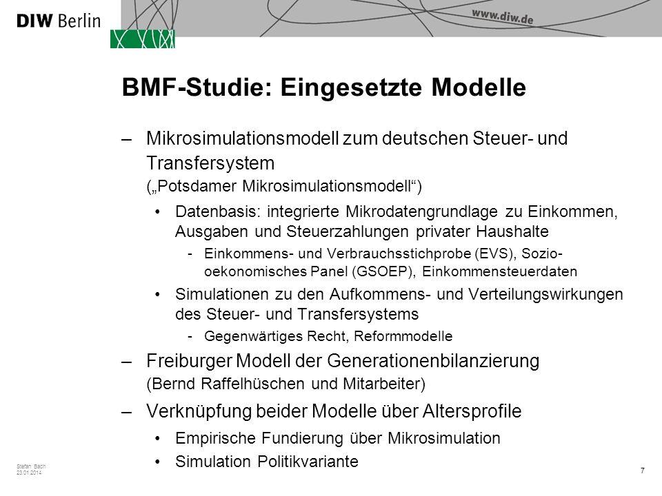 7 Stefan Bach 23.01.2014 BMF-Studie: Eingesetzte Modelle –Mikrosimulationsmodell zum deutschen Steuer- und Transfersystem (Potsdamer Mikrosimulationsm