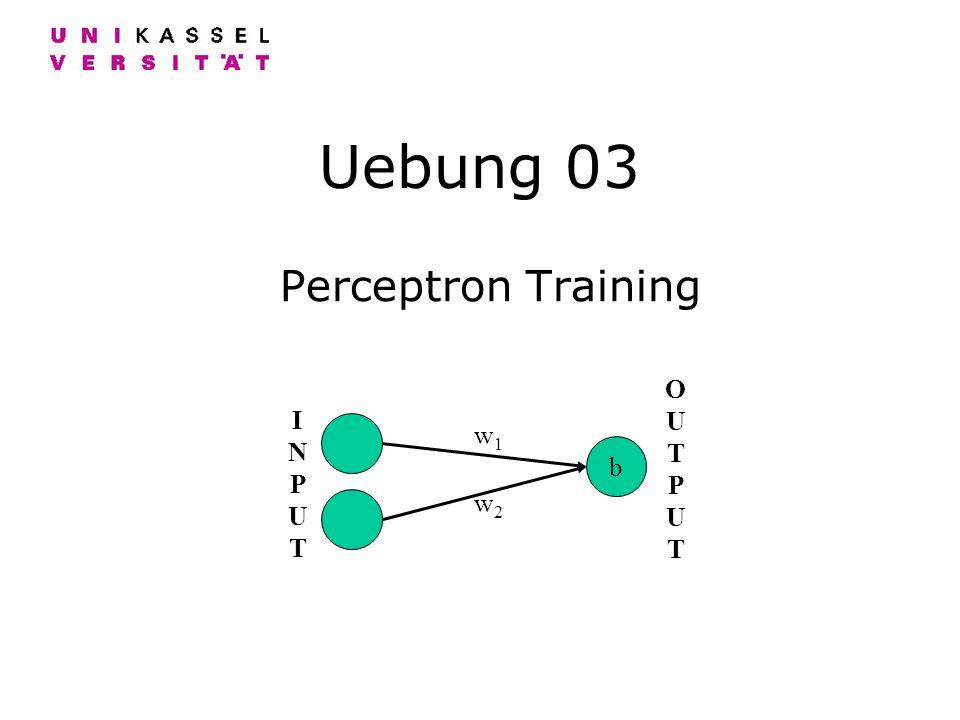 Uebung 03 Perceptron Training INPUTINPUT b OUTPUTOUTPUT w1w1 w2w2