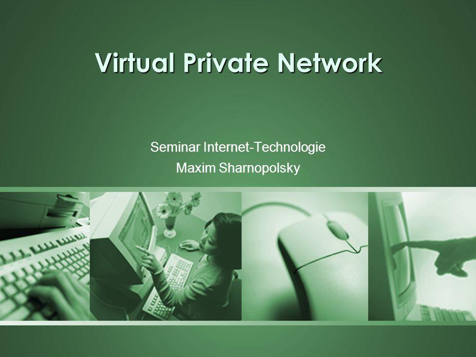 Inhalt Einleitung in die VPN Technologie Tunneling Technologie und die Protokolle –PPTP (Point-to-Point Tunneling Protocol) –L2F (Layer 2 Forwarding) –L2TP (Layer 2 Tunneling Protocol) –SSL, IPSec VPN Arten Funktionsweise von VPN Zusammenfassung