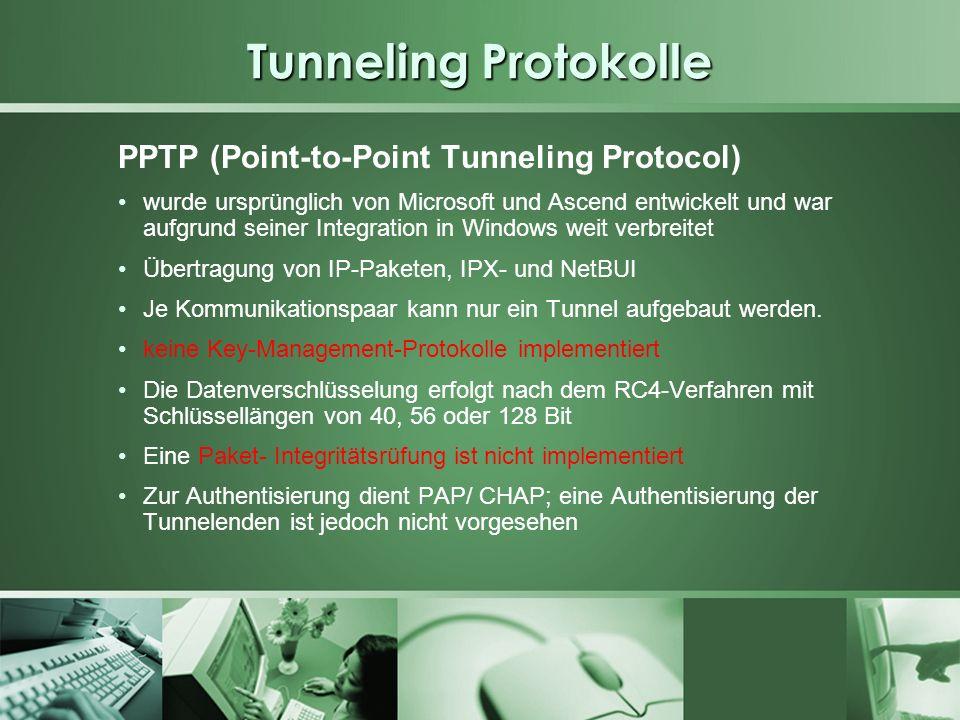 Tunneling Protokolle PPTP (Point-to-Point Tunneling Protocol) wurde ursprünglich von Microsoft und Ascend entwickelt und war aufgrund seiner Integrati